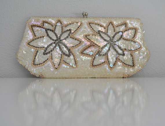 Mariage - Vintage 1950s 50s Sequin Beaded Clutch Evening Purse Wedding Bridal