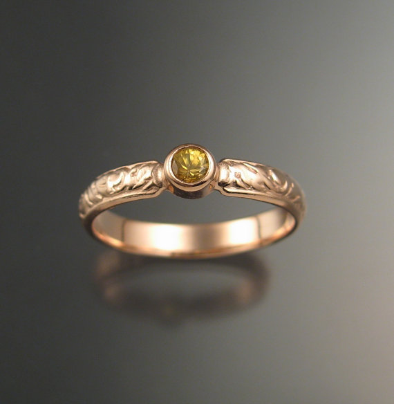 Свадьба - Natural Golden Sapphire Wedding ring 14k rose Gold Victorian bezel set canary Diamond substitute ring made to order in your size
