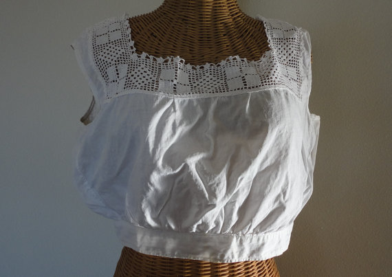 Wedding - Vintage White Corset Cover Crocheted Lace Camisole Chemise Top Soft Cotton Handmade Button Back Square Neck Undergarment Dainties Delicates