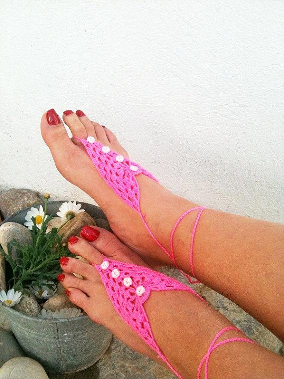 Mariage - Pink  Barefoot Sandals, Nude shoes, Foot jewelry, Wedding, Victorian Lace, Sexy, Lolita, Yoga, Anklet