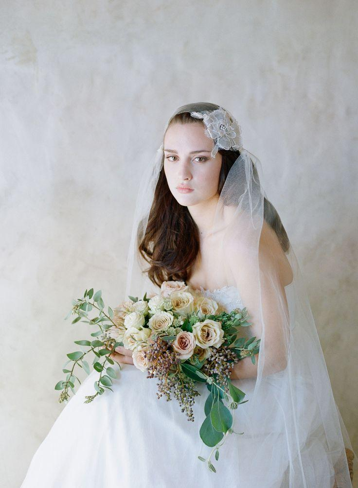Wedding - French Embroidered Lace And Silk Juliet Veil - Style #533