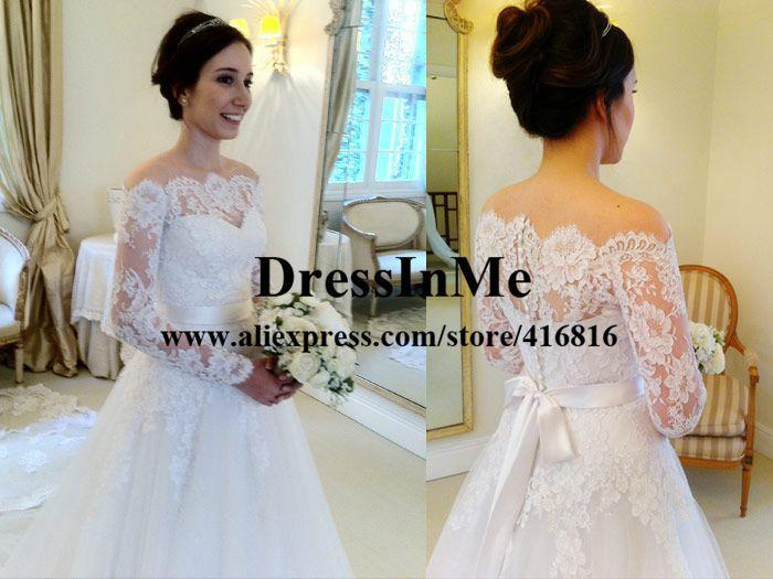 0860b6299283 Aliexpress.com   Buy Scalloped Neckline Off the Shoulder Long Sleeves  Chantilly Lace Appliqued Princess Wedding Ball Gown Vestidos de Noiva from  Reliable ...