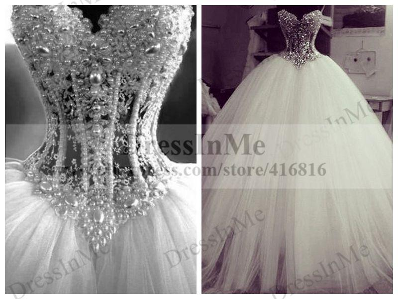 Wedding - http://www.aliexpress.com/store/product/Strapless-Chantilly-Lace-Corset-Puffy-Wedding-Dress-Ball-Gown-with-Crystal-Sash-Vestidos-de-Noiva/416816_32315127305.html
