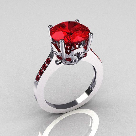 Wedding - 14K White Gold 3.5 Carat Red Rubies Solitaire Wedding Ring R301-14KWGRR