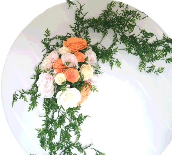 Mariage - Wedding floral arch in blush, ivory and peach paper filter flowers and silk leaves and vines, Arbor flowers, Floral bouquet decorations