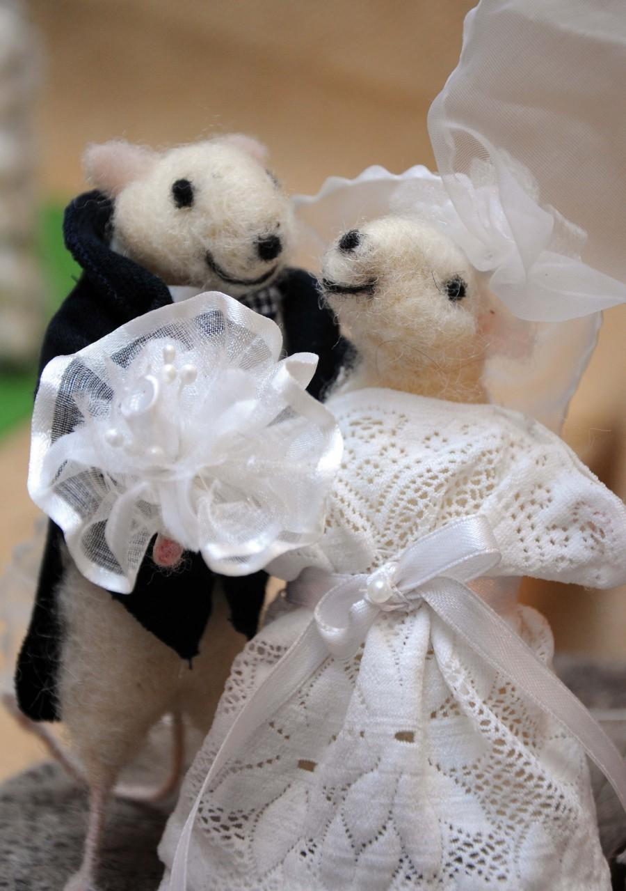 Felt Mouse Wedding Cake Topper Bride And Groom Perfect Gift