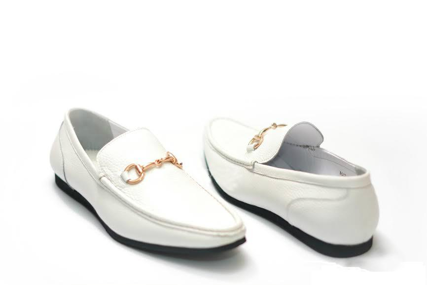 Wedding - LIFE STYLE Mens White Leather Horsebit Driving Loafers Shoes