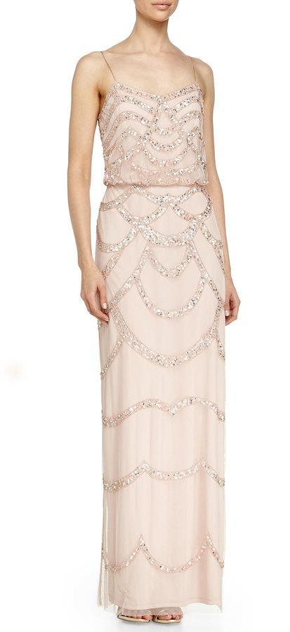 Aidan Mattox Sleeveless Beaded Blouson Column Gown, Petal #2277064 ...