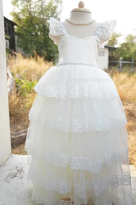 Mariage - Ivory Flower girl dresses, Full Length Flower girl dress, lace flower girl dress, Girl birthday outfit, Girl prom dress, Toddler girl dress.