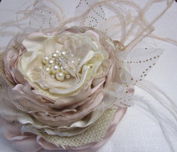 Mariage - Bridal fabric flower in ivory blush champagne burlap and feathers, Rustic Wedding headpiece, Flower for bridal sash belt, Wedding fascinator