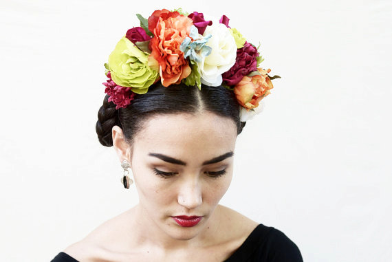Mariage - Frida Kahlo Flower Crown - Large, Colorful Day of the Dead Headband, Dia de los Muertos, Floral Crown, Headdress, Headpiece, Crown, Fiesta