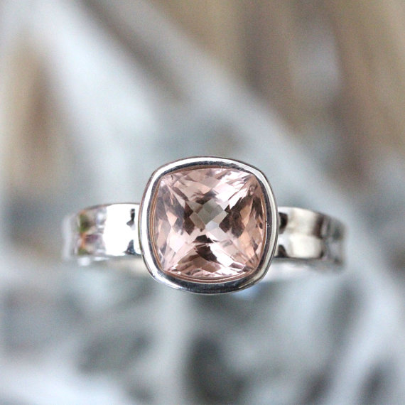 Mariage - Genuine Morganite Sterling Silver Ring, Gemstone Ring, Cushion Shape, Engagement Ring, Stacking Ring, Eco Friendly, Art Deco -Made To Order