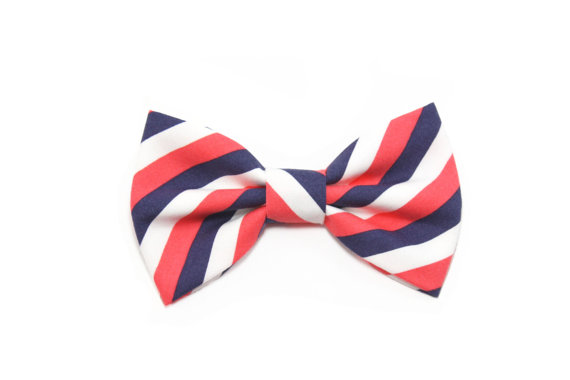 Свадьба - Coral Navy Striped Dog Bow Tie Cat Bow Tie Wedding Dog Bowtie - Gabriel