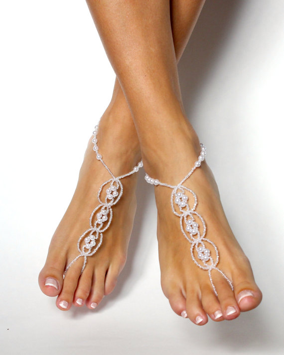 زفاف - Pearl Destination Wedding Shoes White Beaded Barefoot Sandals Shoeless Sandals Anklet Foot Jewelry