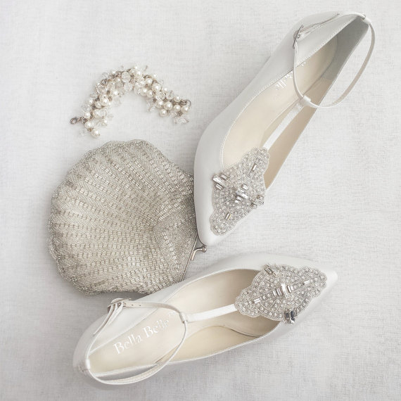 Art Deco White Or Ivory Wedding Shoes With Great Gatsby Crystal Applique  T Strap Kitten Heel Silk Satin Bridal Shoes