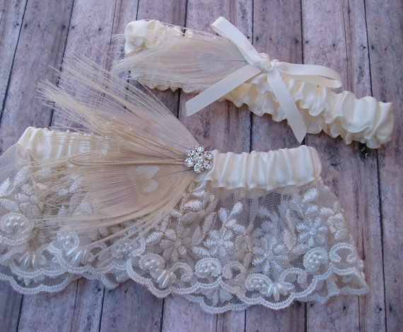 Hochzeit - Ivory Garter Set Peacock Feather LACE WEDDING Rhinestone bridal lingerie, wedding accessories ivory pearl garder