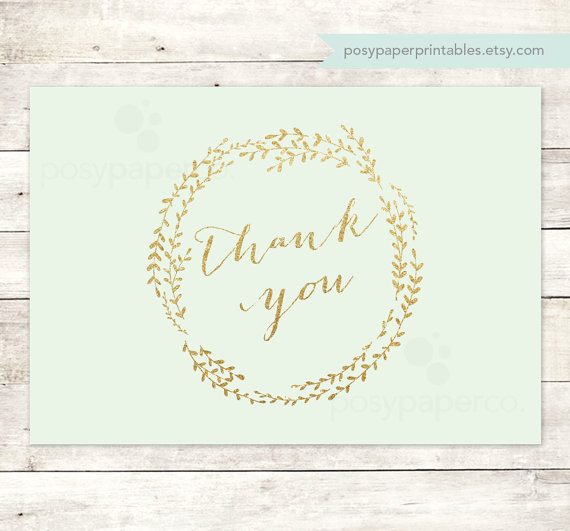 Mint Gold Thank You Cards Printable Diy Bridal Baby Wedding Shower