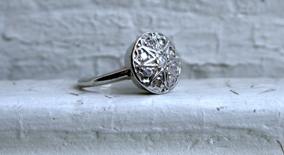 Wedding - Antique 14K White Gold Diamond Cluster Engagement Ring.