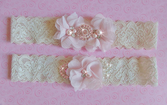 Wedding Ivory Blush Garter Set Meaning White Bridal Belts Heirloom Shabby Chic