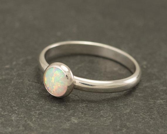 زفاف - Opal Ring - Silver Opal Ring- Opal Engagement Ring - Simple Modern Opal Ring- Sterling Silver Gemstone Ring- Handmade Silver Jewelry