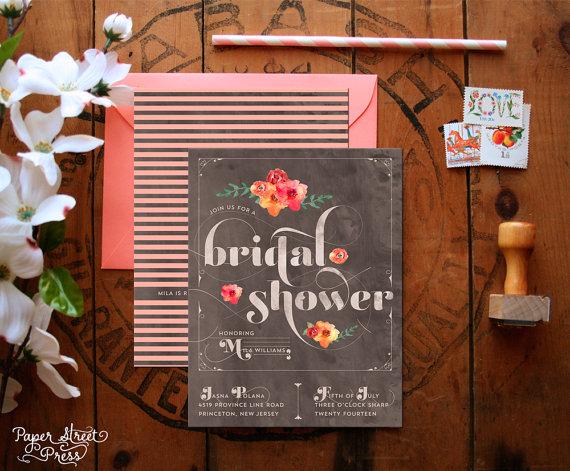 Mariage - Floral Bridal Shower Invitations - Modern Watercolor Bridal Shower - Stripes & Flowers Feminine Bridal Shower Invites - Printable - Primrose