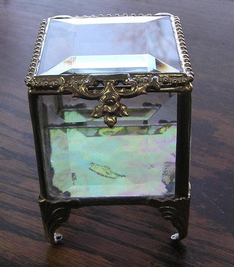 زفاف - Silver, Stained Glass Jewelry Box, Keepsake Box, Glass Box, Ring Bearer Pillow Alternative, Mother's Day Gift, White Ribbon, Spring Wedding