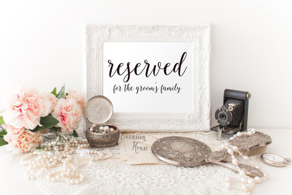 printable reserved sign 5 x7 wedding reserved sign reserved for