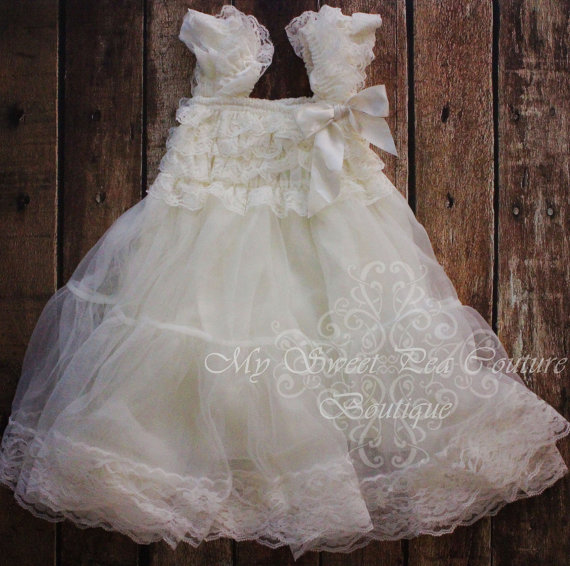 Antique Charm Ivory Lace & Chiffon Dress Baby Dress