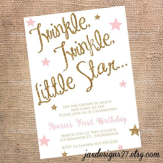 Kids Birthday Party Invitations Twinkle Twinkle Little Star