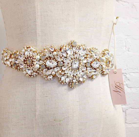 Hochzeit - Grey and Gold Crystal Bridal Sash- Crystal Bridal Sash- Crystal and Opal Bridal Sash