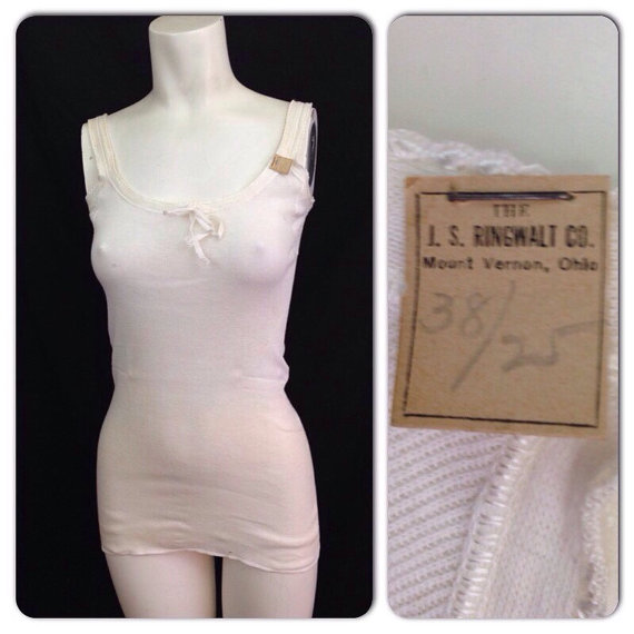 Wedding - RaRe Vintage NOS Deadstock 1920s 1930s Off White Sleeveless Cotton Tie Tank Top / 30s Undergarment Slip Flapper Lingerie XS SMALL
