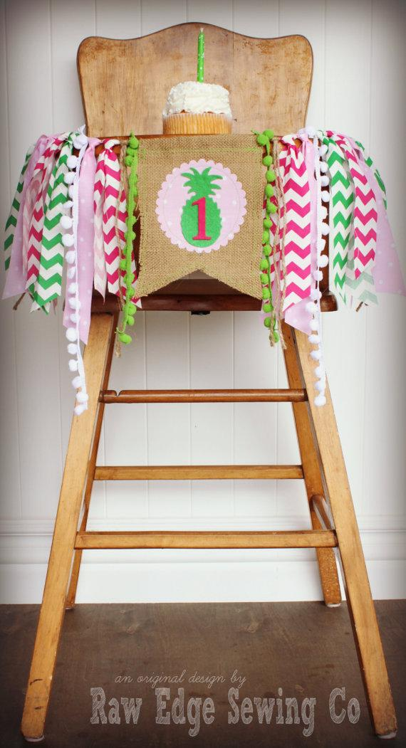 Wedding - PINEAPPLE Birthday Age High Chair Highchair Birthday Banner/Party/Photo Prop/Bunting/Backdrop/Chair Banner/Pink/Green/Cake Smash/Summer/One