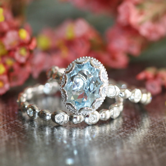Floral Aquamarine Engagement Wedding Ring Set In 14k White Gold