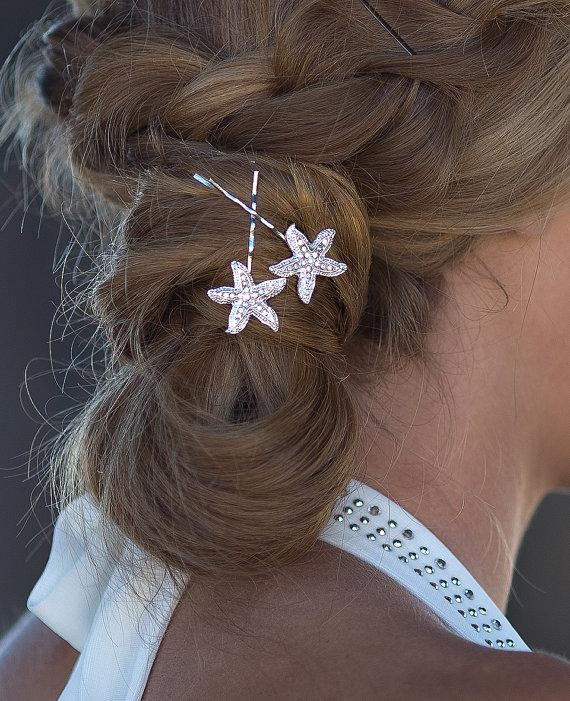 Rhinestone Starfish Bobby Pins Beach Wedding Bridal Hair Accessory Clips Destination Bridesmaid Gift