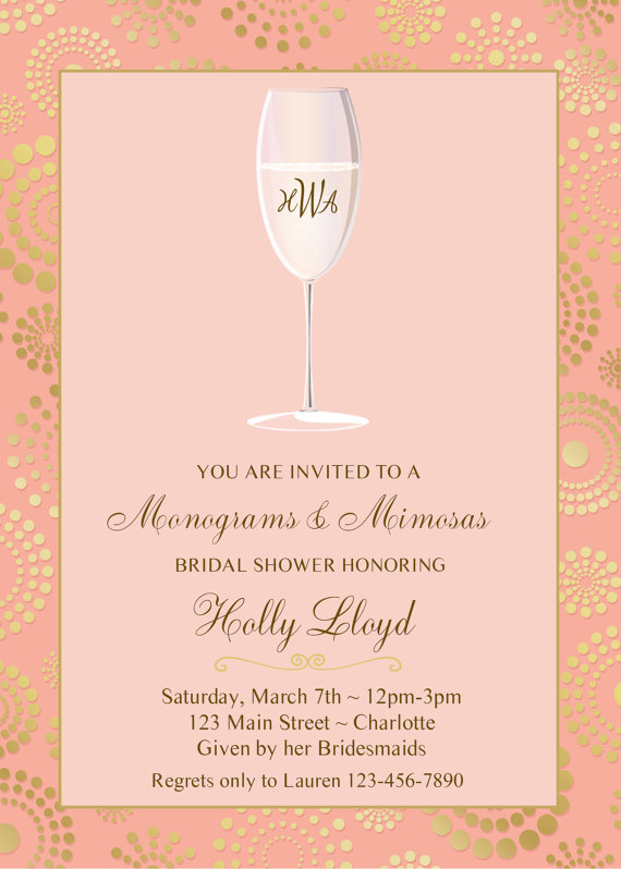 Monogram And Mimosas Bridal Shower Invitation Pink Gold Bridal