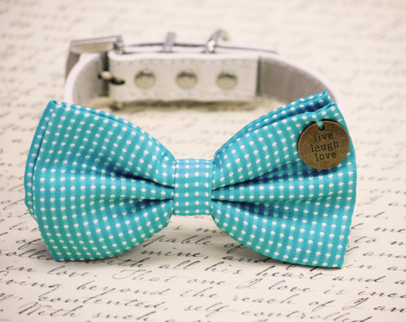 Свадьба - Blue Dog Bow Tie, birthday gift, Live Love Laugh, Pet accessory, Pet bow, Dog lovers, Polka dots bow, some thing blue, pet wedding accessory