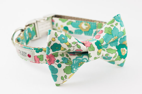 Свадьба - Seafoam Green Floral Dog Bowtie Collar with Nickel Buckle - Liberty of London