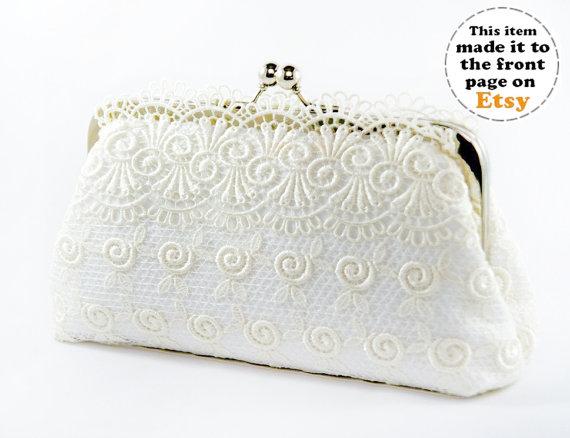 زفاف - Bridal Ivory Wedding Guipure Lace Clutch 8-inch L'INNOCENTE