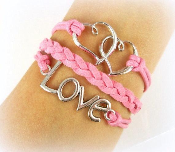 Свадьба - Love Bracelet Double Hearts Silver Charm Girlfriend Friendship Best Friends Wedding Bridal Bridesmaid Graduation Gift - Metta Jewelry