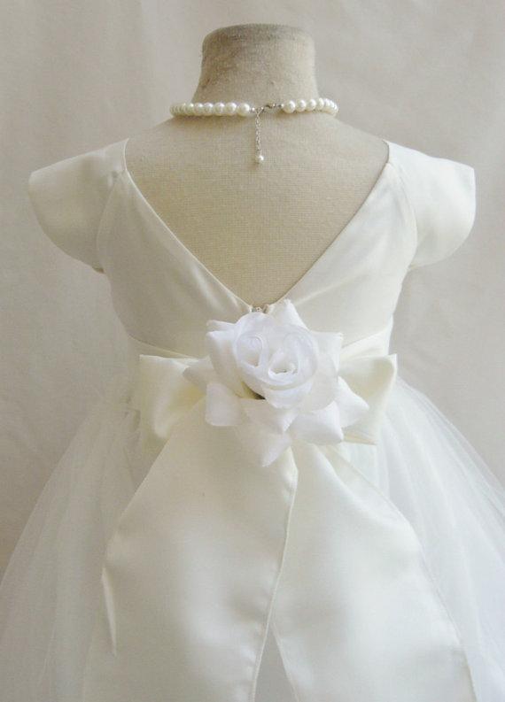 Wedding - Flower Girl Dresses - IVORY with Ivory Satin Dress (FD0SV) - Wedding Easter Bridesmaid - For Children Toddler Kids Teen Girls