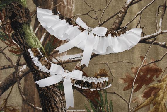 Wedding - Wedding Garter Set - White Satin Ribbon with RealTree Camo Trim and Swarovski Crystal Charm