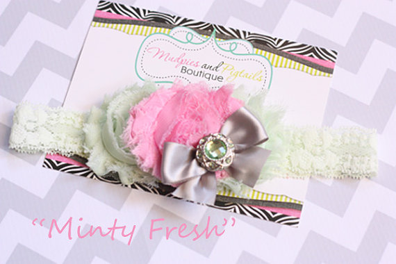 Mariage - mint baby headband { Minty fresh } vintage mint, pink shabby chiffon Flower, cake smash, first birthday, spring easter photography prop