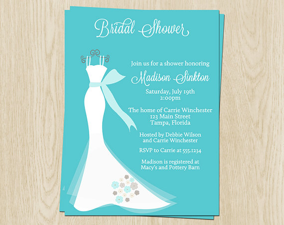 Wedding Gown Bridal Shower Invitations Aqua Teal Blue White Dress Gray Set Of 10 Printed Cards FREE Ship ELGTF Elegant
