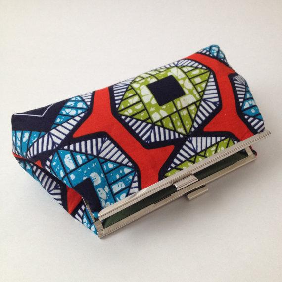 زفاف - African Print Clutch, Frame Clutch, Frame purse, Bridesmaid purse, bridal clutch, wedding clutch, african accessory