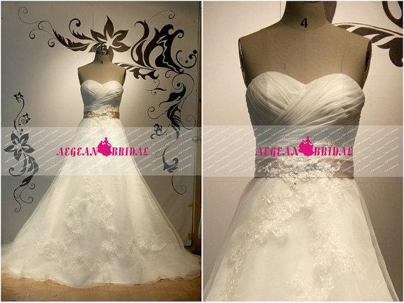 زفاف - RW644 A Line Wedding Dress with Belt Lace Bridal Dress with Lace Up back Church Wedding Gown with Sweetheart