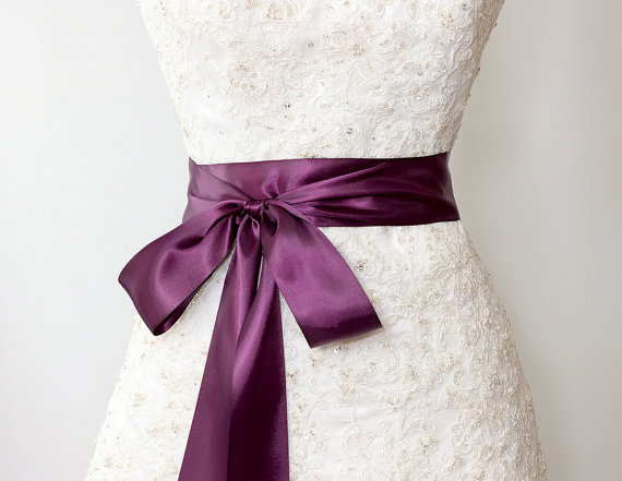 satin ribbon sash wedding sashes aubergine purple bridal belt