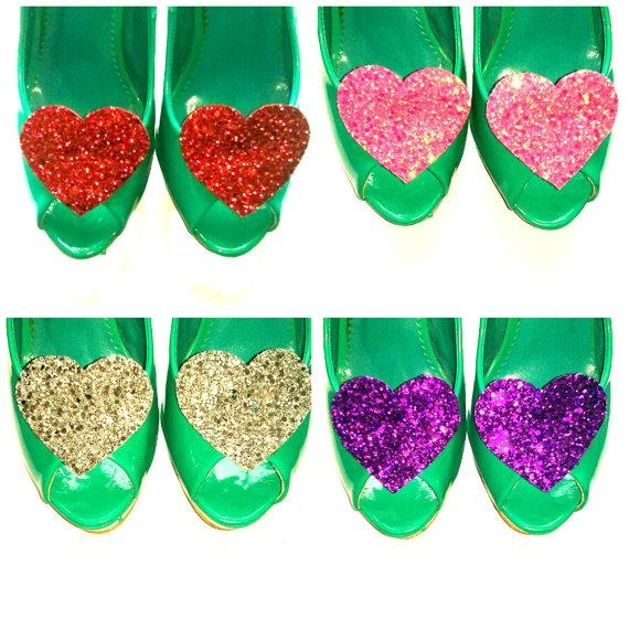 Mariage - Glitter Heart Shoe Clips - Choose your colour! - Valentines, Wedding, Night out