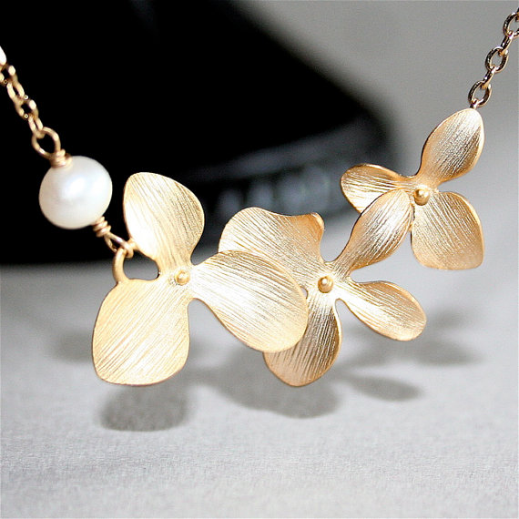 Wedding - Gold Orchid Necklace with white Freshwater Pearl. Three Orchids. Gold Flower Necklace. Gold Filled. Wedding Jewelry, Bridesmaids Gift