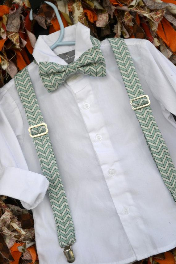 Свадьба - Mint & White Chevron Bowtie Bow Tie and Suspender Set - Baby / Toddler / Child