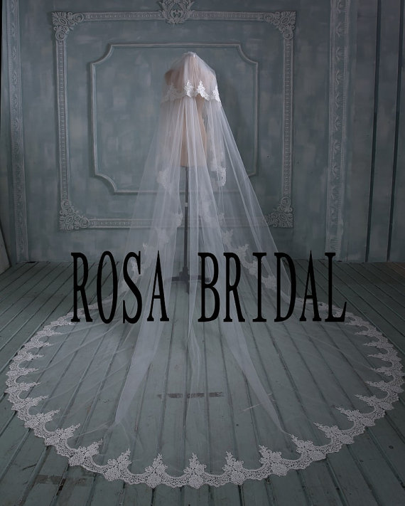 زفاف - Plus Long 394 inches Plus Width 118 inches 2 tiers bridal veil lace, Long wedding veil, Lace edge long wedding veil, cathedral bridal veil